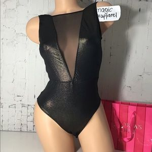 VS S L SHINE HIGH NECK BODYSUIT TEDDY MESH